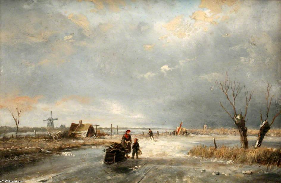 Winter Scene - by Andreas Schelfhout (1787-1870, Netherlands) | Museum Art Reproductions Andreas Schelfhout | WahooArt.com
