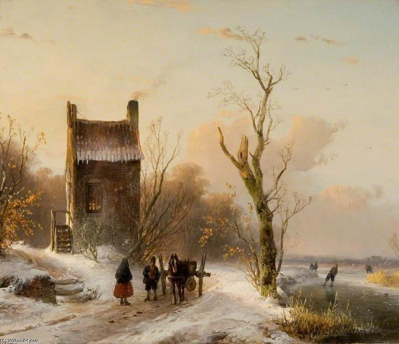 Winter Scene - by Andreas Schelfhout (1787-1870, Netherlands) | WahooArt.com