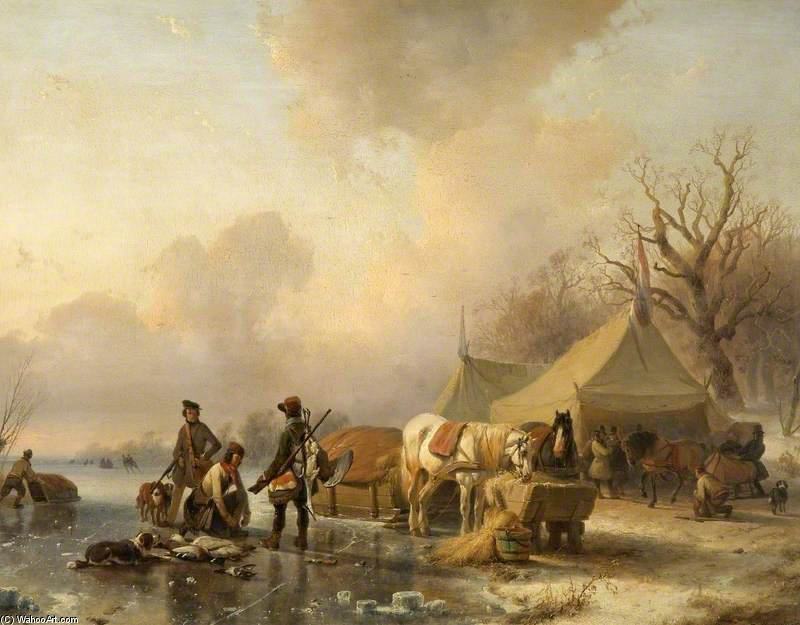 Winter Scene With A Sleigh by Andreas Schelfhout (1787-1870, Netherlands) | Art Reproductions Andreas Schelfhout | WahooArt.com