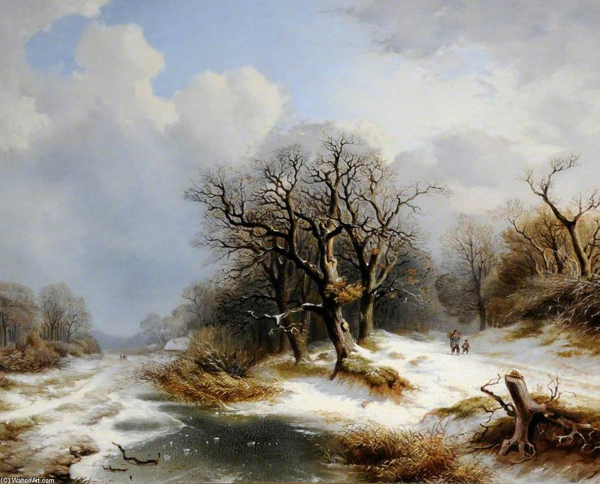 Winter Scene by Andreas Schelfhout (1787-1870, Netherlands)