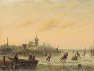 Andreas Schelfhout - Winter Skaters On The Lake