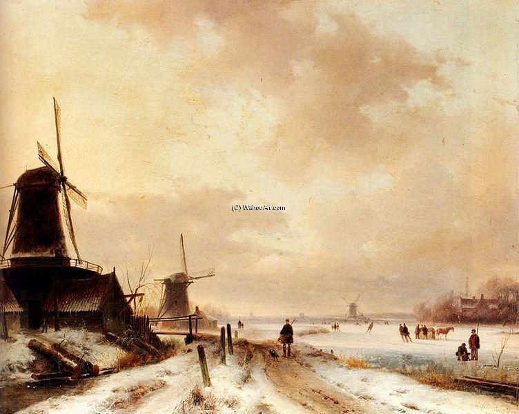 Winter by Andreas Schelfhout (1787-1870, Netherlands) | Art Reproductions Andreas Schelfhout | WahooArt.com