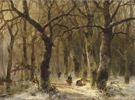Woodgatherers On A Forest Path In Winter by Andreas Schelfhout (1787-1870, Netherlands)