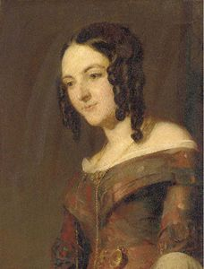 Andrew Geddes - Portrait Of A Lady, Half-length, In A Red Dress And Ringlets In Her Hair