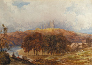 Anthony Vandyke Copley Fielding - A View Of Penrhyn Castle, Wales, With Figures In The Foreground