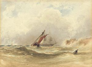 Anthony Vandyke Copley Fielding - Shipping In Rough Seas