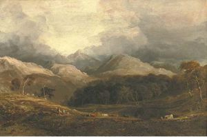 Anthony Vandyke Copley Fielding - View From Pont Aberglaslyn Looking West Towards Moel Hebog And The Aberglaslyn Woods