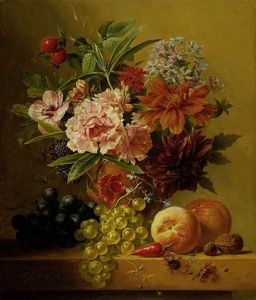 Arnoldus Bloemers - Pot Of Flowers And Fruit