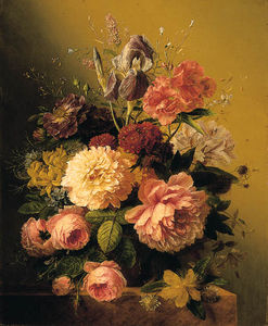 Arnoldus Bloemers - Roses, Peonies, An Iris And Other Assorted Flowers In A Terracotta Vase On A Stone Ledge
