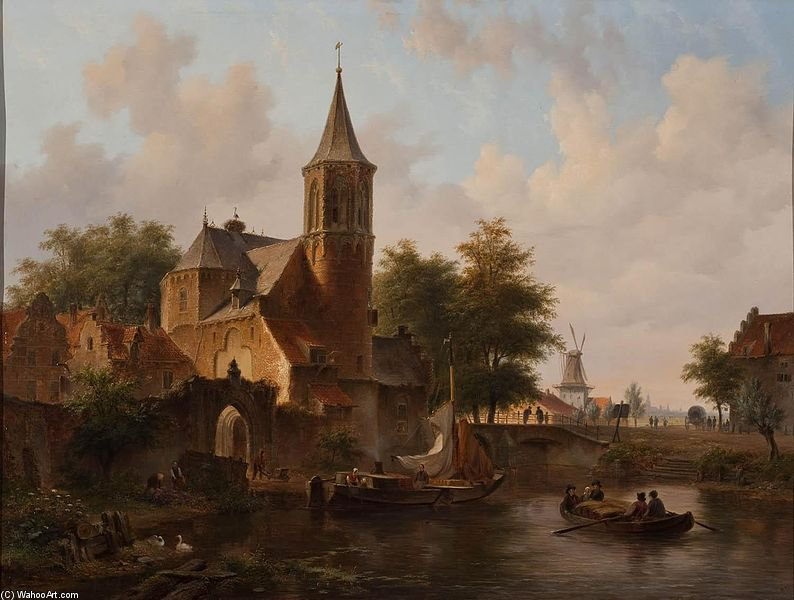 Cityscape Possible Hague by Bartholomeus Johannes Van Hove (1790-1880, Netherlands)