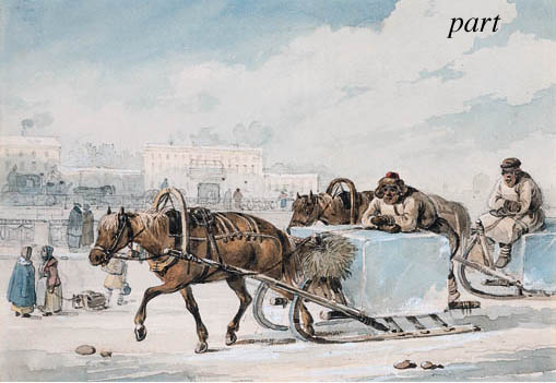 The Ice-haulers; Winter Sledge by Carl Ivanovitch Kollmann (1788-1846) | Paintings Reproductions Carl Ivanovitch Kollmann | WahooArt.com