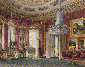 Charles Wild - Carlton House, Rose Satin Drawing Room Looking West