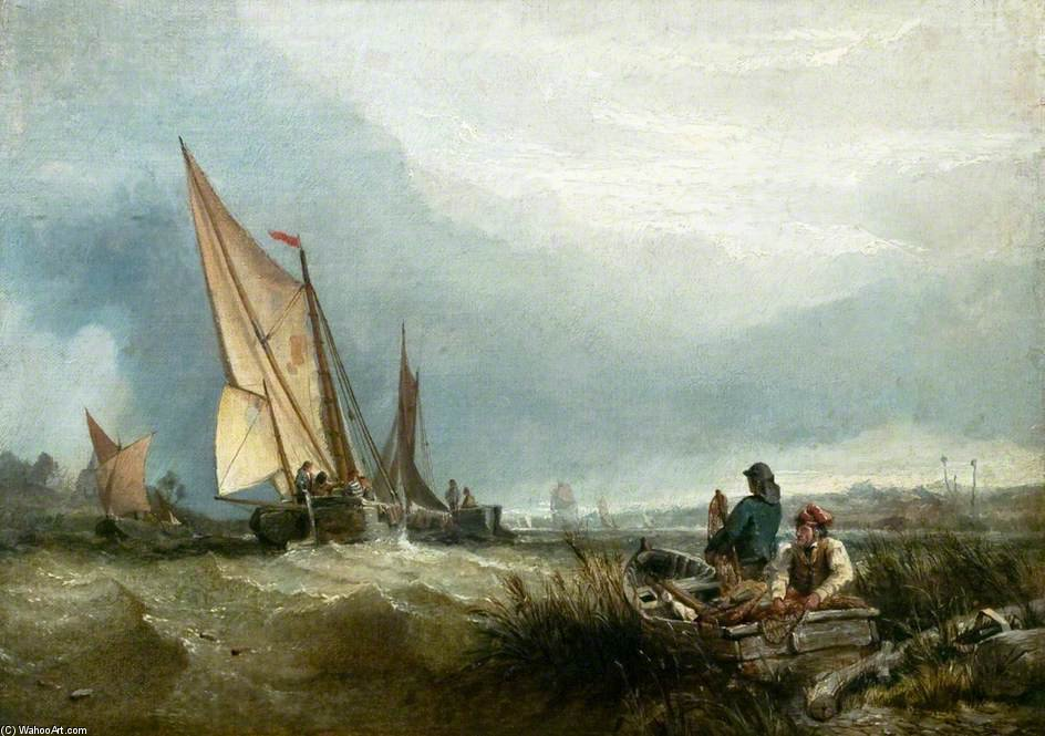River Scene With Shipping by Clarkson Frederick Stanfield (1793-1867, United Kingdom) | Art Reproductions Clarkson Frederick Stanfield | WahooArt.com