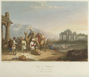 Clarkson Frederick Stanfield - Scene In Kattiawar, Travellers And Escort
