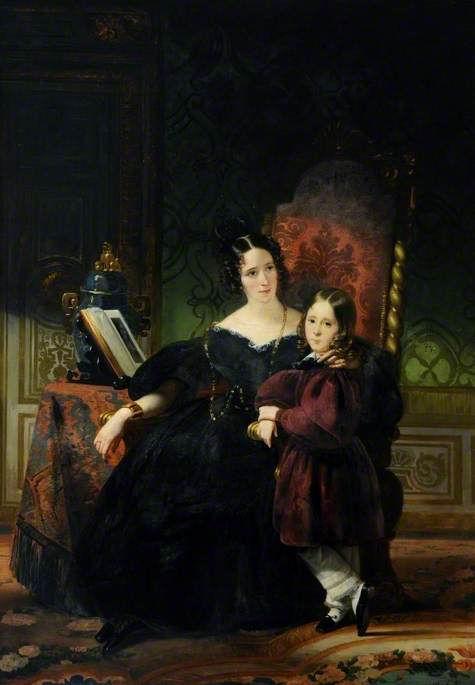 Order Art Reproductions | Lady Clifford Constable, With Her Son, Talbot by Claude Marie Paul Dubufe (1790-1864) | WahooArt.com
