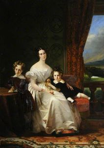 Claude Marie Paul Dubufe - Mary Barbara, Lady Chichester, With Her Two Elder Sons