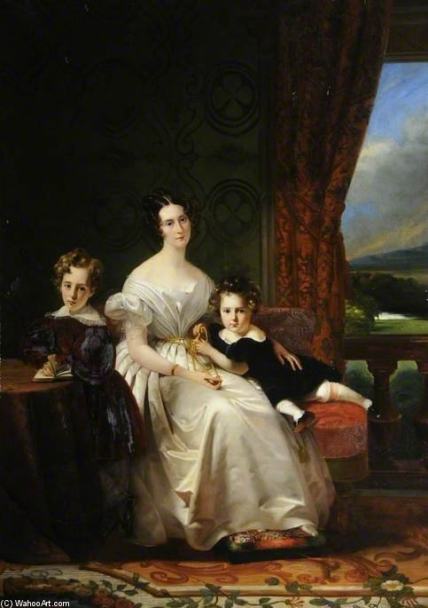 Mary Barbara, Lady Chichester, With Her Two Elder Sons by Claude Marie Paul Dubufe (1790-1864) | Reproductions Claude Marie Paul Dubufe | WahooArt.com
