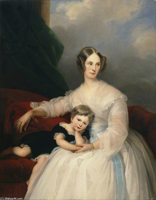 Mrs Hervey Francis De Montmorency And Her Daughter Frances by Claude Marie Paul Dubufe (1790-1864) | Museum Quality Copies Claude Marie Paul Dubufe | WahooArt.com