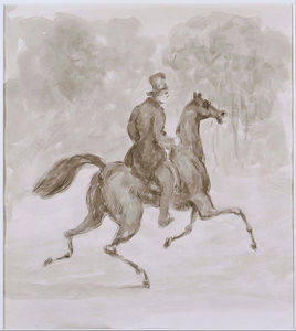 Constantin Guys - Man On Trotting Horse