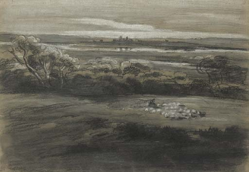 A Shepherd And Sheep In A Wooded Landscape by Cornelius Varley (1781-1873, United Kingdom)