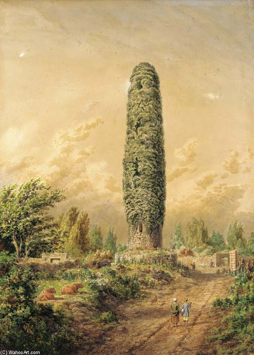 An Ivy-covered Tower By An Open Track, Ireland by Cornelius Varley (1781-1873, United Kingdom)