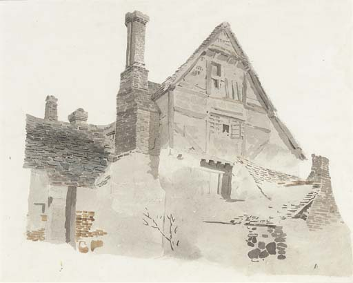 Study Of A Timber-framed Gabled Farmhouse by Cornelius Varley (1781-1873, United Kingdom)