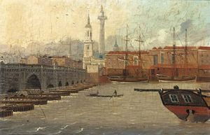 Daniel Turner - A View Of The Thames At New London Bridge, St. Magnus The Martyr And The Monument Beyond