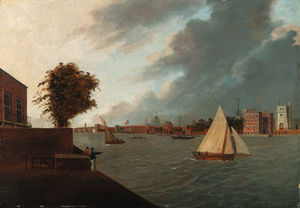 Daniel Turner - View From The North Bank Of The River Thames From Millbank, With Lambeth Palace, And St. Paul-s Cathedral Beyond