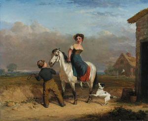 Edmund Bristow - A Girl On A Grey Pony Held By A Boy, By A Country Cottage