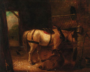 Edmund Bristow - A Horse And Donkey In A Stable