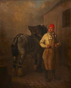 Edmund Bristow - A Man In A Red Hat With A Whip And A Horse