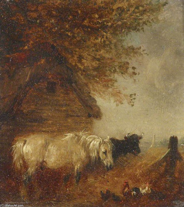 Buy Museum Art Reproductions | A Pony And Cow By A Shed by Edmund Bristow (1787-1876, United Kingdom) | WahooArt.com