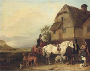 Edmund Bristow - A Sporting Party Outside A House