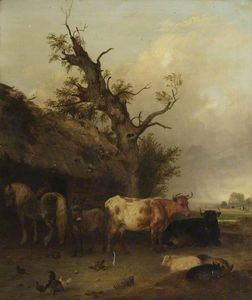 Edmund Bristow - Cattle Shed With Cows And Horses