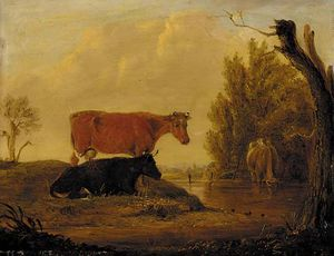 Edmund Bristow - Cattle Watering In A Wooded Landscape