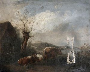 Edmund Bristow - Cattle With Cart And Barn