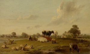 Edmund Bristow - Landscape With Cattle And Sheep