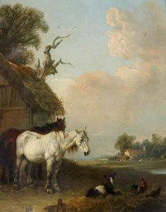 Edmund Bristow - Landscape With Two Horses And A Goat By A Shed