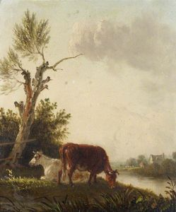Edmund Bristow - Two Cows By A Stream
