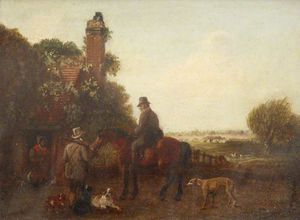 Edmund Bristow - Two Sportsmen Outside A Cottage, One On Horseback, With Dogs