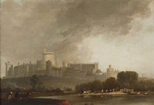 Edmund Bristow - View Of Windsor Castle From The River, With Cattle, And Men On Horseback