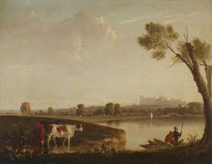 Edmund Bristow - View Of Windsor Castle From The River, With Cattle, And Two Men In A Boat