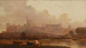 Edmund Bristow - View Of Windsor Castle With Four Cows In The Foreground, And Men In A Boat