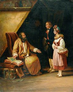 Edouard Pingret - A Young Couple Visit A Savant Who Consults Ancient Volumes In Order To Provide Counselling To Them