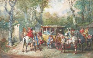 Eugene Louis Lami - A Group Of Riders Carosse Around A Door To A Park