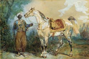 Eugene Louis Lami - Taking A Mameluke Harnessed Horse Profile Left