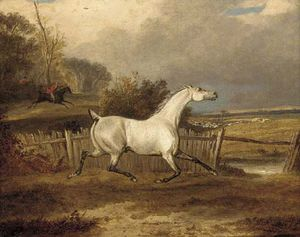 Francis Calcraft Turner - A Grey In A Paddock With A Hunt Beyond