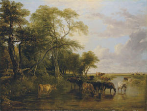 Frederick Richard Lee - A Woody River Scene, With Cows Watering