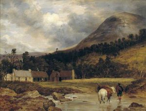 Frederick Richard Lee - Bringing In A Stag (figure And Animals By Sir E. Landseer)