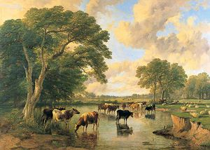 Frederick Richard Lee - Cattle On The Banks Of A River